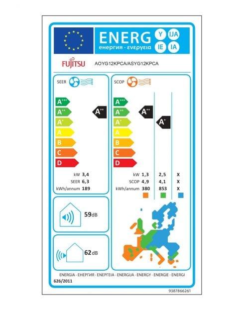 Fujitsu 12 KPCA Κλιματιστικό Τοίχου Ενεργειακή Σήμανση