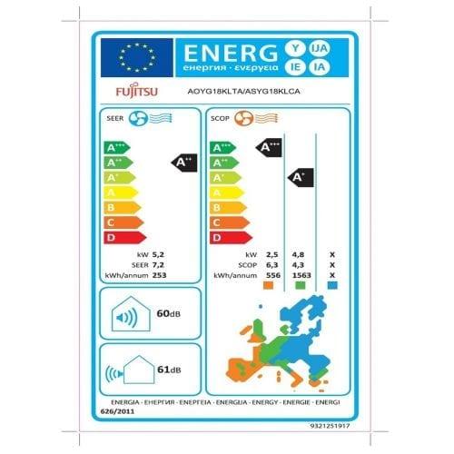 Fujitsu KLCA 18kBTU Κλιματιστικό Τοίχου Ενεργειακή Σήμανση