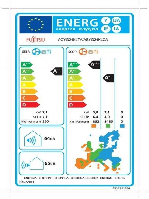 Fujitsu KLCA 24kBTU Κλιματιστικό Τοίχου Ενεργειακή Σήμανση